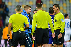 Simon Rozman, head coach of NK Domzale and referees after football match between NK Maribor and NK Domzale in 9th Round of Prva liga Telekom Slovenije 2018/19, on August 05, 2018 in Ljudski vrt, Maribor, Slovenia. Photo by Mario Horvat / Sportida