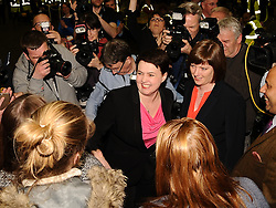Scottish Conservative leader Ruth Davidson arrives at the count in Edinburgh with her partner Jen Wilson.<br /> © Dave Johnston/ EEm