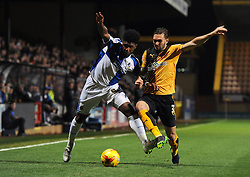 Ellis Harrison of Bristol Rovers is challenged by Greg Taylor of Cambridge United - Mandatory byline: Dougie Allward/JMP - 07966 386802 - 30/10/2015 - FOOTBALL - The Abbey Stadium - Cambridge, England - Cambridge United v Bristol Rovers - Sky Bet League Two