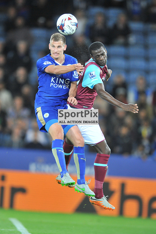 Leicesters Gokhan Inler holds of West Hams Victor Moses, Leicester City v West Ham Utd, Carling Cup, King Power Stadium, Tuesday 22nd September 2015.