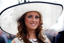 LIVERPOOL, ENGLAND - Friday, April 9, 2010: A female race-goer on Ladies' Day during the second day of the Grand National Festival at Aintree Racecourse. (Pic by David Rawcliffe/Propaganda)