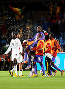 The Blacks Stars shower their hero Richard Kingso in water after the 2010 FIFA World Cup South Africa Group D match between Serbia and Ghana at Loftus Versfeld Stadium on June 13, 2010 in Pretoria, South Africa.