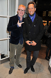 Left to right, CHRIS EVANS and RICHARD E GRANT at a party to celebrate the switching on of the Christmas Lights at the Stella McCartney store, Bruton Street, London on 29th November 2011.