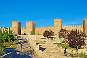 The walled city of Avila, Spain on a beautiful spring day.