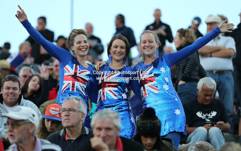 An enthusiastic crowd during the 2014 New Zealand FIM Speedway Grand Prix held at Western Springs, Auckland, New Zealand on Saturday 5th April 2014<br /> Credit; Peter Meecham/ www.photosport.co.nz