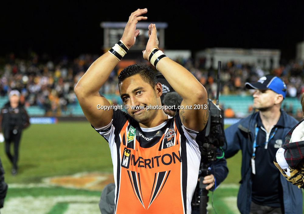 Benji Marshall thanks the fans. NRL Rugby League match, Vodafone Warriors v Wests Tigers at Leichhardt Oval in Sydney, Australia on Friday 19 July 2013. Photo: Andrew Cornaga/Photosport.co.nz