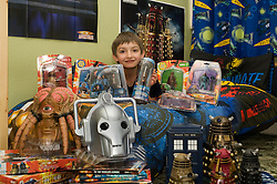 8 year old Penistone boy with the new Dr Who Action Figures and Sonic Screwdriver 26 March 2010.Images © Paul David Drabble.