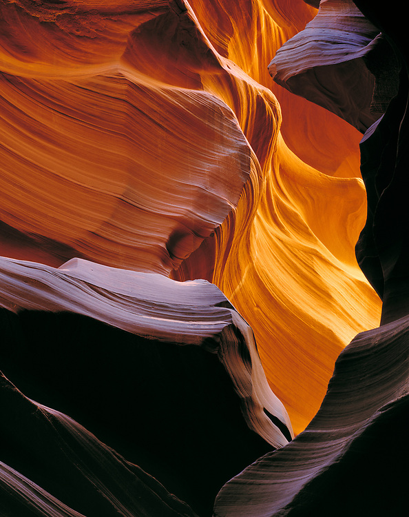 Sunlight gives delicate details to the sandstone in Antelope Canyon, Arizona.