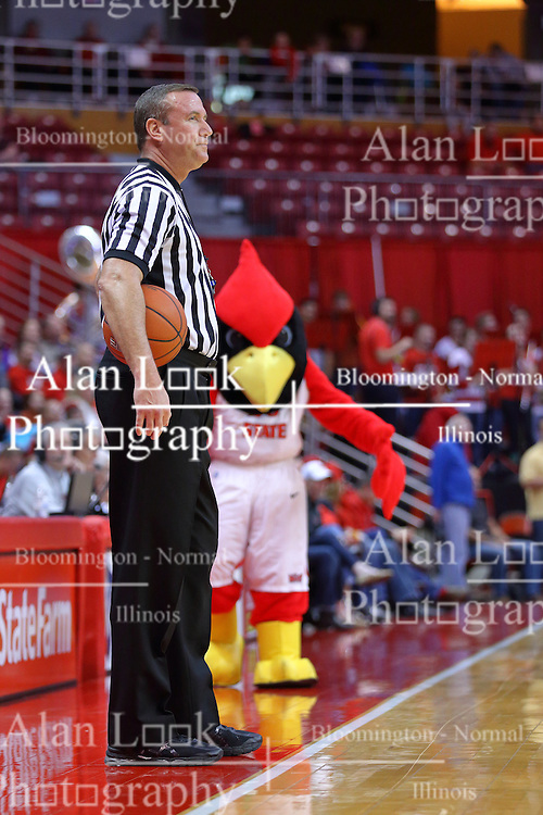 29 December 2016:  Brad Ferrie stalked by Reggie Redbird during an NCAA  MVC (Missouri Valley conference) mens basketball game between the Evansville Purple Aces the Illinois State Redbirds in  Redbird Arena, Normal IL