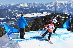 Snowboarder Cross Action, FINA PAREDES Astrid, ESP, DUCE Heidi Jo, USA at the 2016 IPC Snowboard Europa Cup Finals and World Cup