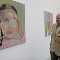Councillor Martin Lafferty looking at a piece by Diana Copperwhite at the official opening of the 2nd annual Burren Art Exhibition at the Burren College of Art at the weekend.<br /> <br /> Photograph by Yvonne Vaughan.