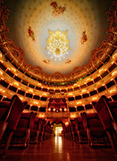 Teatro La Fenice, Venice, Italy. A vertical photograph of the inside of the opera house.