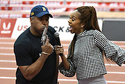 Mar 3, 3017; Albuquerque, NM, USA; Ato Boldon (left) and Sanya Richards-Ross pose during the USA Indoor Track and Field championships at the Albuquerque Convention Center.