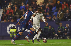 February 24, 2019 - Valencia, Valencia, Spain - Erick Cabaco of Levante UD and Vinicius Junior of Real Madrid during the La Liga match between Levante and Real Madrid at Estadio Ciutat de Valencia on February 24, 2019 in Valencia, Spain. (Credit Image: © AFP7 via ZUMA Wire)