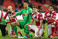 20131215 - LEUVEN, BELGIUM: Standard's Laurent Ciman, Standard's goalkeeper Eiji Kawashima, Standard's Julien De Sart and Standard's Igor de Camargo celebrate after winning the Jupiler Pro League match between Standard de Liege and KRC Genk, in Liege, Sunday 15 December 2013, on the nineteenth day of the Belgian soccer championship. BELGA PHOTO JASPER JACOBS