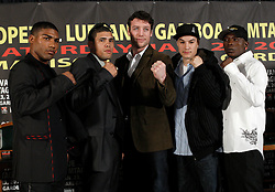 Dec 3, 2009; New York, NY, USA; (l to r) Yuriokis Gamboa, Juan Manuel Lopez, John Duddy, Steven Luevano, and Rogers Mtagwa pose at the press conference announcing the January 23, 2010 fights at Madison Square Garden.