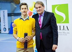 Bor Schweiger Muzar and Marko Umberger, president of TZS at Tennis exhibition day and Slovenian Tennis personality of the year 2013 annual awards presented by Slovene Tennis Association TZS, on December 21, 2013 in BTC City, TC Millenium, Ljubljana, Slovenia.  Photo by Vid Ponikvar / Sportida