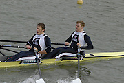 """Seville. SPAIN, 17.02.2007, GBR M2X, Bow Matt WELLS and Stephen ROWBOTHAM, clear the """"Puente de la Barqueta"""" [bridge] during Saturdays heats, of the FISA Team Cup, held on the River Guadalquiver course. [Photo Peter Spurrier/Intersport Images]    [Mandatory Credit, Peter Spurier/ Intersport Images]. , Rowing Course: Rio Guadalquiver Rowing Course, Seville, SPAIN,"""