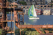 United States, Washington, Seattle, Lake Union, Gasworks Park, Houseboats, sailbaot flying spinnnaker