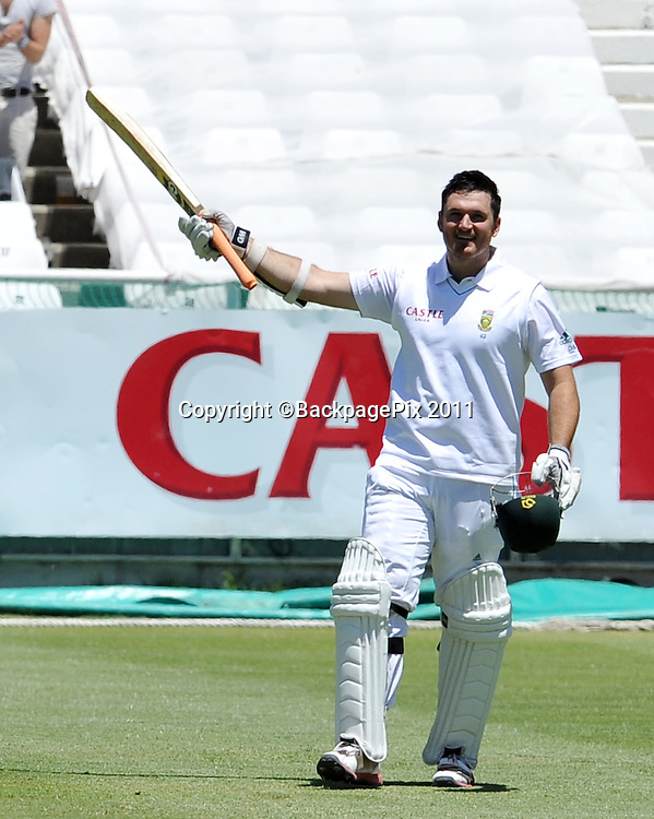 Graeme Smith (captain) of South Africa celebrates after going to his century<br /> <br /> &copy;Ryan Wilkisky/BackpagePix
