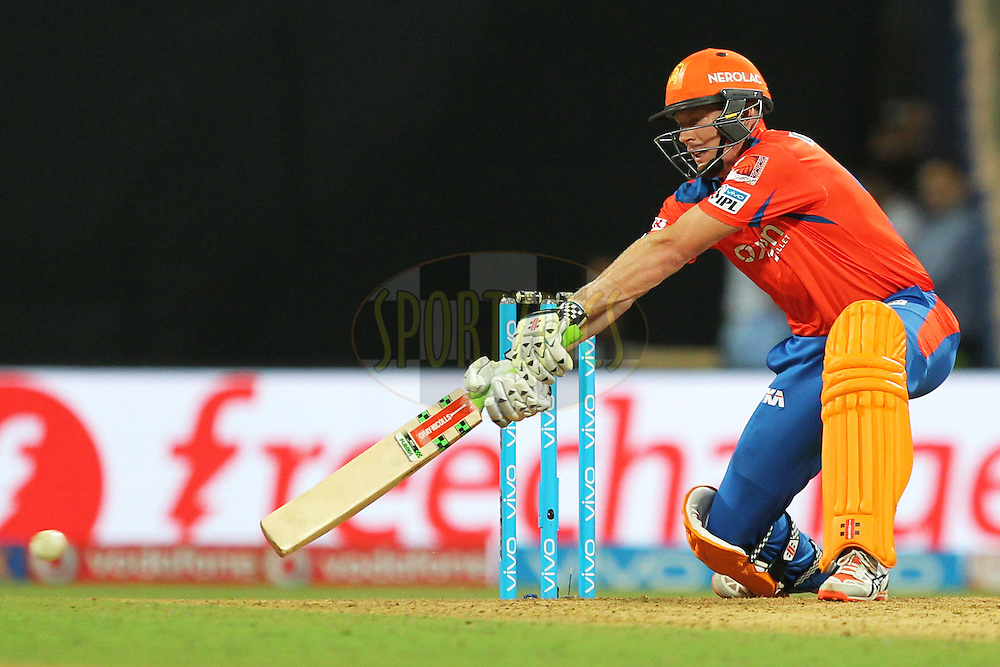 James Faulkner of Gujrat Lions hits the ball during match 9 of the Vivo Indian Premier League ( IPL ) 2016 between the Mumbai Indians and the Gujarat Lions held at the Wankhede Stadium in Mumbai on the 16th April 2016Photo by Prashant Bhoot/ IPL/ SPORTZPICS