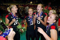 02.10.2011, Hala Pionir, Belgrad, SRB, Europameisterschaft Volleyball Frauen, Siegerehrung, im Bild Jubel ueber die Silbermedaille: Mareen Apitz (#20 GER / Dresden GER), Saskia Hippe (#13 GER / Chieri ITA), Maren Brinker (#15 GER / Pesaro ITA), Kathleen Weiß / Weiss (#2 GER) // during the 2011 CEV European Championship, Awarding Ceremony at Hala Pionir, Belgrade, SRB, 2011-10-02. EXPA Pictures © 2011, PhotoCredit: EXPA/ nph/  Kurth       ****** out of GER / CRO  / BEL ******