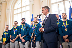 "Players during award ceremony ""Zlati red za zasluge"" for Basketball association of Slovenia on the day of statehood in the presidential palace, on June 25, 2018 in Ljubljana, Slovenia. Photo by Urban Urbanc / Sportida"