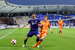 Denis Klinar of NK Maribor and Andrew Halliday of FC Rangers during 2nd Leg football match between NK Maribor and Rangers FC in 3rd Qualifying Round of UEFA Europa League 2018/19, on August 16, 2018 in Stadion Ljudski vrt, Maribor, Slovenia. Photo by Urban Urbanc / Sportida