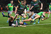 Harlequins centre Michele Campagnaro (23)scores a try during the Gallagher Premiership Rugby match between Northampton Saints and Harlequins at Franklins Gardens, Northampton, United Kingdom on 1 November 2019.