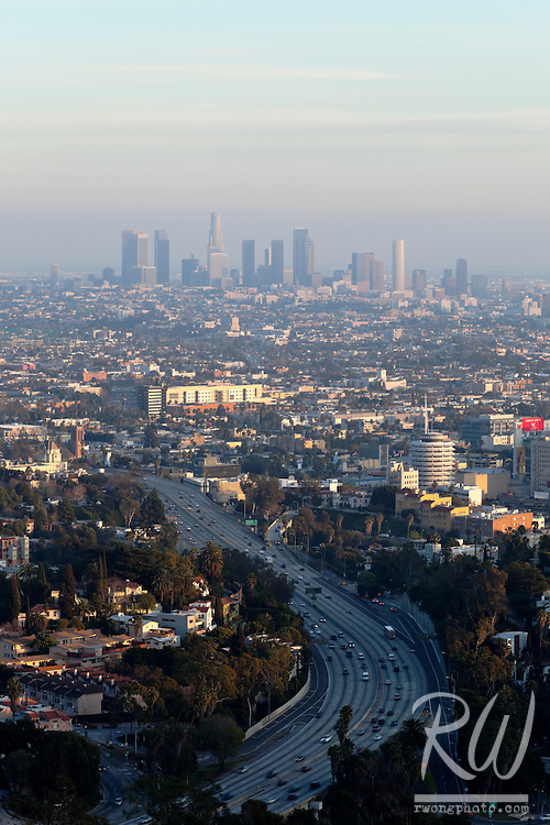 View of Highway 101 and Downtown L.A. from Mulholland Drive, Los Angeles, California