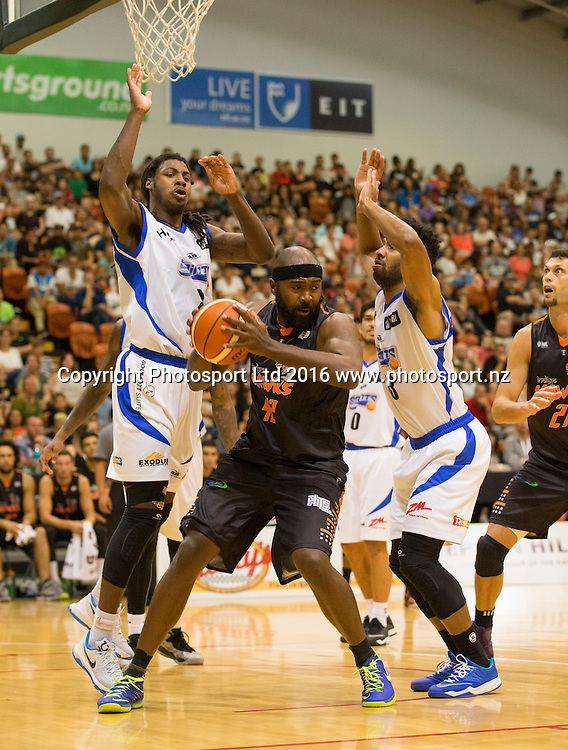 Hawk's Kareem Johnson is put under pressure. Hawkes Bay Hawks v Wellington Saints,NBL basketball, PG Arena, Napier, New Zealand. Sunday, 13 March 2016. Copyright photo: John Cowpland / www.photosport.nz