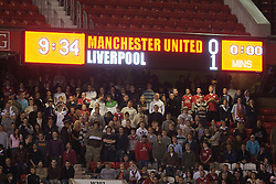 Manchester, England - Thursday, April 26, 2007: The scoreboard records Liverpool's 1-0 second leg victory over Manchester United during the FA Youth Cup Final 2nd Leg at Old Trafford. (Pic by David Rawcliffe/Propaganda)