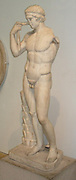 Diadoumenos, statue of an athlete tying a victor's ribbon around his head. Roman, 1st century AD, version of a Greek original of about 440 BC.  from Italy.  Known as the Farnese Diadoumenos, this work is a marble copy of a bronze original sometimes attributed to the Greek sculptor Pheidias.