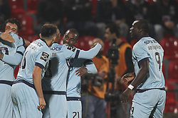 November 25, 2017 - Aves, Guimaraes, Portugal - Porto's Portuguese defender Ricardo Pereira celebrates after scoring goal with teammates during the Premier League 2017/18 match between CD Aves vs FC Porto at the Aves stadium in Vila das Aves on November 25, 2017. (Credit Image: © Dpi/NurPhoto via ZUMA Press)