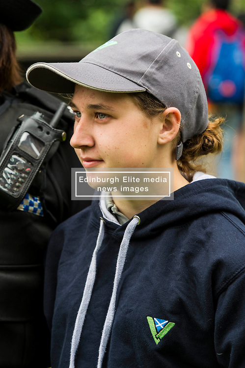Pictured: Coleen Thomson (16) Head Youth Volunteer<br /> <br /> Superintendent Lesley Clark and collagues gathered at  at the police base for the Operation Summer City 2016 campaign, Venue 999<br /> <br /> (c) Ger Harley | Edinburgh Elite media