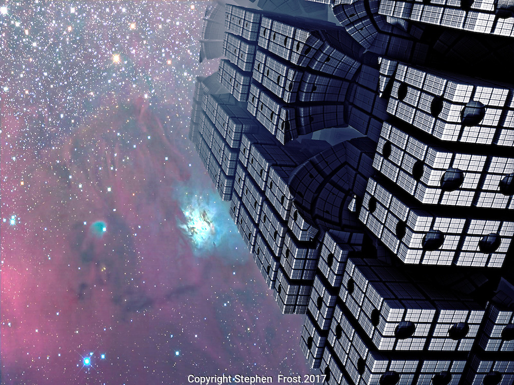 Fractal Tower with Cosmic Sky.<br />