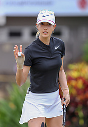 April 13, 2018 - Kapolei, HI, U.S. - KAPOLEI, HI - APRIL 13: Michelle Wie acknowledges the crowd after finishing her third round of the LPGA Tour LOTTE Championship at the Ko Olina Golf Club, Friday, April 13, 2018, in Kapolei, HI. (Photo by Darryl Oumi/Icon Sportswire) (Credit Image: © Darryl Oumi/Icon SMI via ZUMA Press)