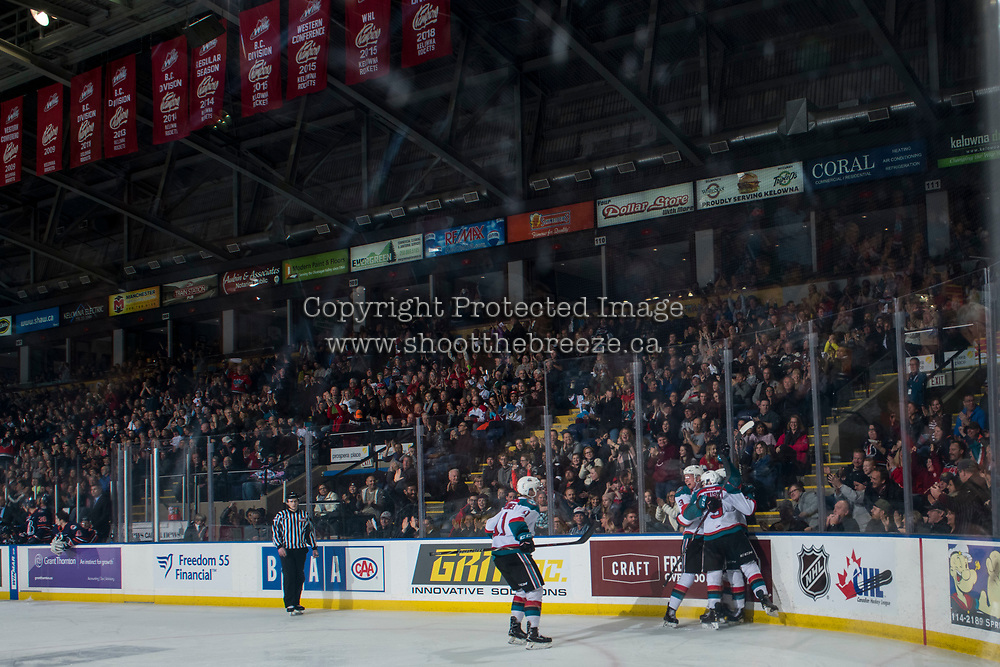 KELOWNA, CANADA - DECEMBER 29: Kyle Topping #24 of the Kelowna Rockets celebrates a goal against the Kamloops Blazers on December 29, 2018 at Prospera Place in Kelowna, British Columbia, Canada.  (Photo by Marissa Baecker/Shoot the Breeze)