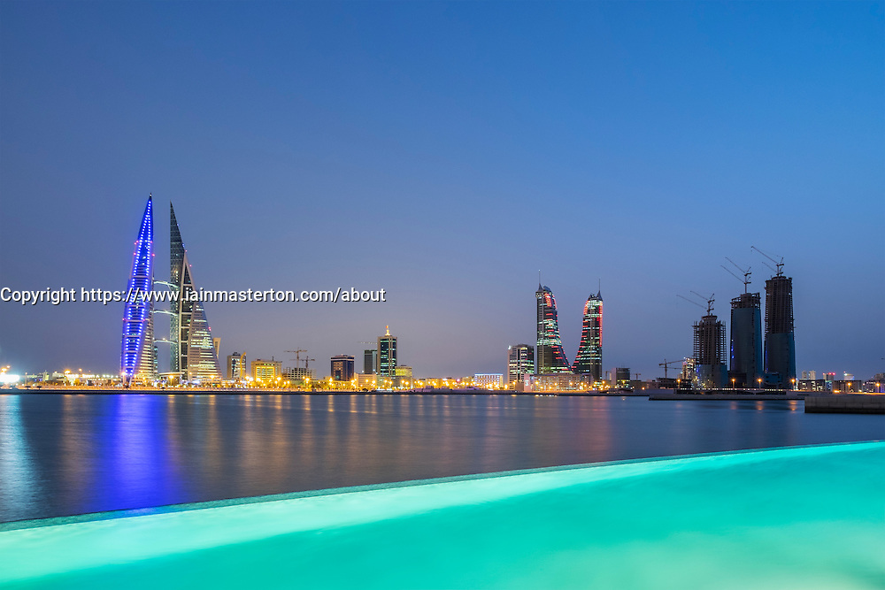 Skyline of Manama city and Bahrain Bay  from new Four Seasons Bahrain Bay luxury Hotel in Bahrain