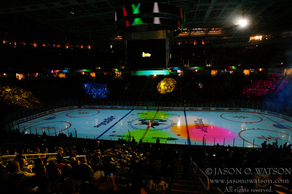 May 22, 2011; San Jose, CA, USA;  General view of HP Pavilion before game four of the western conference finals of the 2011 Stanley Cup playoffs between the San Jose Sharks and the Vancouver Canucks.  Vancouver defeated San Jose 4-2. Mandatory Credit: Jason O. Watson / US PRESSWIRE