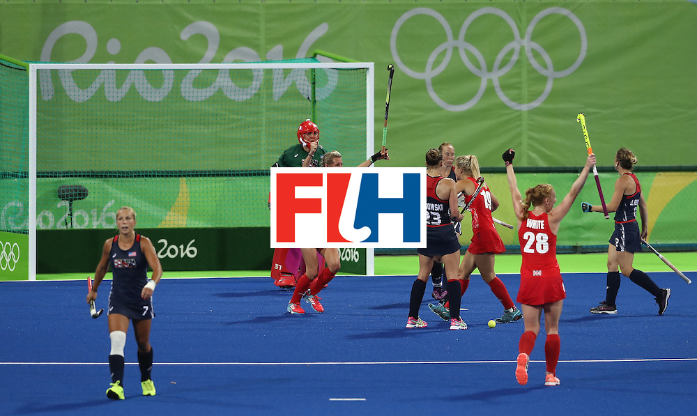 RIO DE JANEIRO, BRAZIL - AUGUST 13: Alex Danson of Great Britain celebrates after scoring their second goal during the Women's group B hockey match between Great Britain and the USA on Day 8 of the Rio 2016 Olympic Games at the Olympic Hockey Centre on August 13, 2016 in Rio de Janeiro, Brazil.  (Photo by David Rogers/Getty Images)