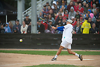 KELOWNA, CANADA - JUNE 28: Kelowna Mayor Colin Basran hits the ball during the opening charity game of the Home Base Slo-Pitch Tournament fundraiser for the Kelowna General Hospital Foundation JoeAnna's House on June 28, 2019 at Elk's Stadium in Kelowna, British Columbia, Canada.  (Photo by Marissa Baecker/Shoot the Breeze)