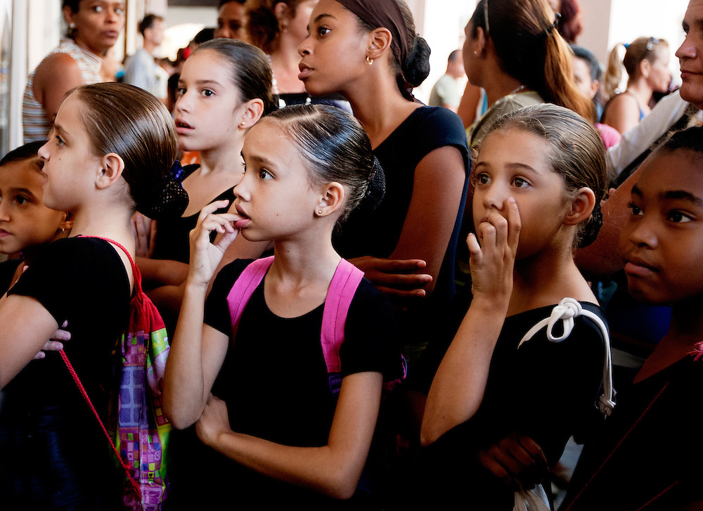 Young girls wait nervously for their turn at  a dance audition in Old havana, Cuba.<br />