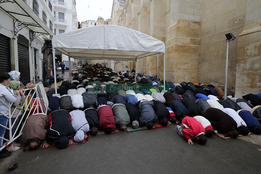 April 13, 2018 - Algiers, Algeria - Algerians perform funeral prayer in absentia for plane crash victims after Friday prayer at the Ketchaoua Mosque in Algiers, Algeria on April 13, 2018. At least 257 people were killed when an Algerian military plane crashed near Algiers. (Credit Image: © Billal Bensalem/NurPhoto via ZUMA Press)