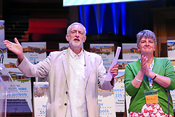 "© Licensed to London News Pictures. 22/06/2019. London, UK. Labour Party leader Jeremy Corbyn (L) and Kiri Tunks (R) Joint President of the National Education Union at the ""Together for Education"" rally in The Methodist Central Hall, Westminster attended by teachers, governors, parents, councillors and trade unionists about campaigning against real-terms education funding cuts. Photo credit: Dinendra Haria/LNP"