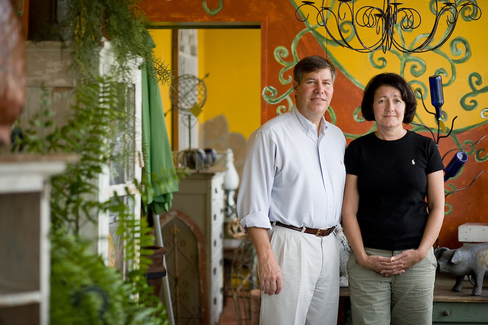 John, left, and Jenny Pleasants, inside their antique store in Siler City, NC,