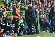 Forest Green Rovers Matt Mills(5) and Forest Green Rovers head coach, Mark Cooper during the EFL Sky Bet League 2 match between Forest Green Rovers and Plymouth Argyle at the New Lawn, Forest Green, United Kingdom on 16 November 2019.