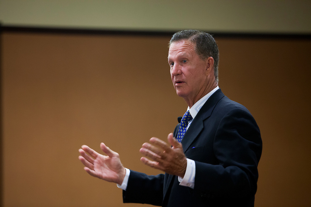 Doug Manchester, a real estate developer and publisher of U-T San Diego, speaks to a crowd of real estate professionals and students at San Diego State University on Thursday, Oct. 18, 2012.