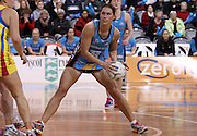 Jodi Brown controls the ball for the Steel.<br /> ANZ Championship - Steel v Pulse, 28 May 2012, The Edgar Centre, Dunedin, New Zealand.<br /> Photo: Rob Jefferies / photosport.co.nz