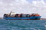 Maersk Line container ship, Nysted Maersk departing Auckland, New Zealand. 29/2/2008